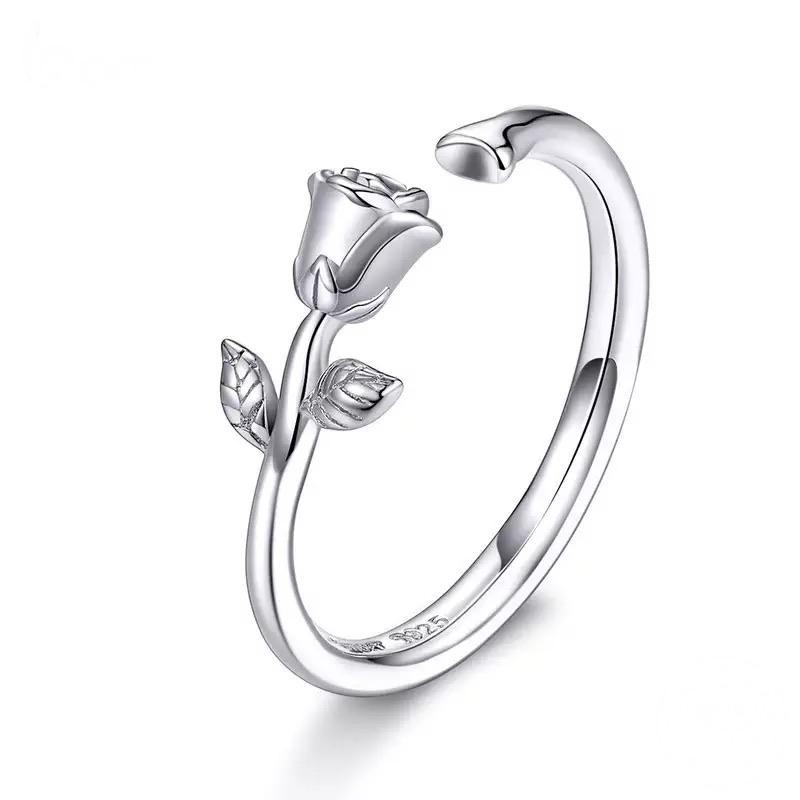 Sterling Silver Ring - Closed Rose