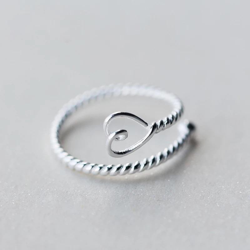 Sterling Silver Ring - Heart Twist