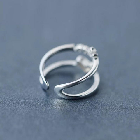Sterling Silver Ring - Love Heart Double