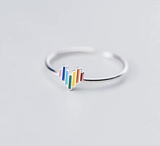 Sterling Silver Ring - Rainbow Heart