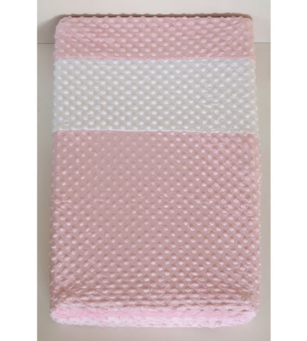 Changing pad cover in pink and white minky fabric