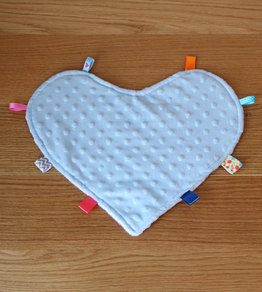 Heart security blanket with tags in blue and white minky
