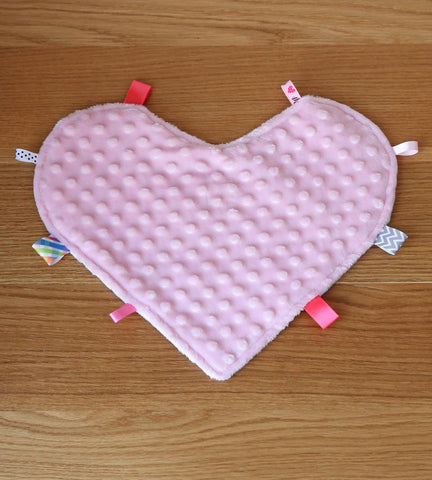 Heart security blanket with tags in pink and white minky