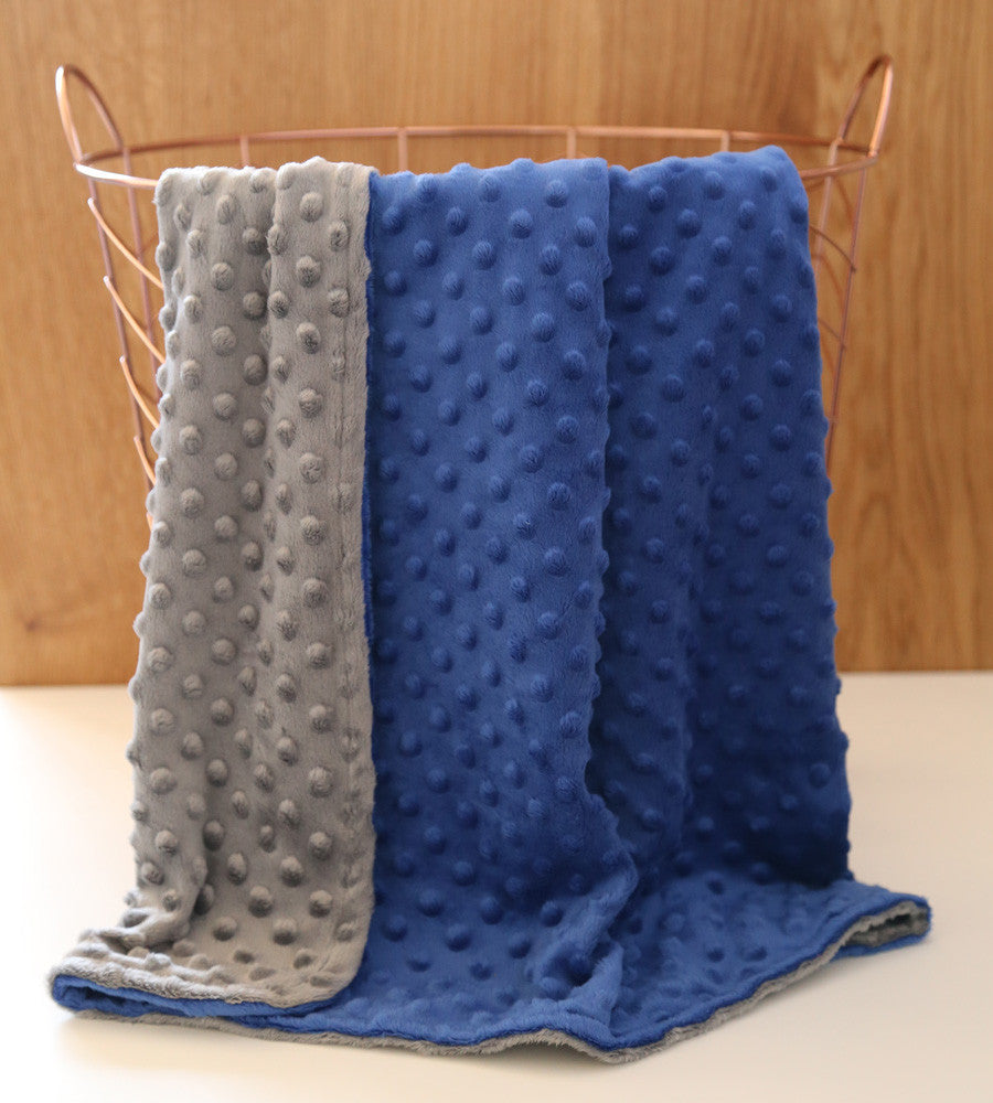 Dark blue charcoal minky baby blanket