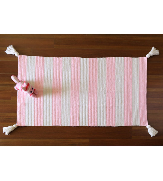 stripe floor rug pink nursery decor girl kid