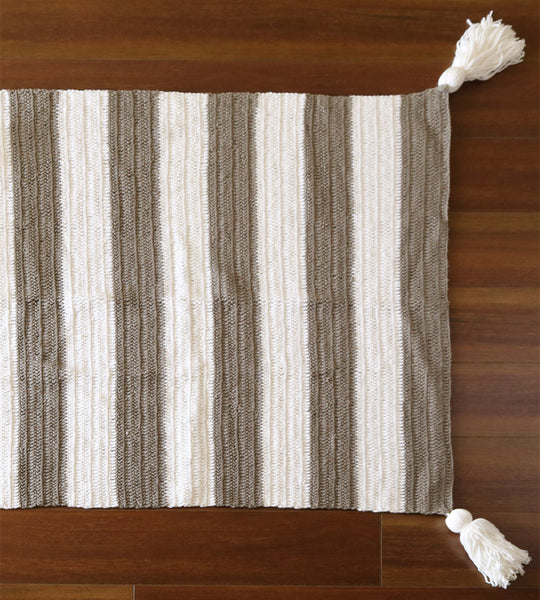 stripe crochet floor rug taupe gender neutral decot