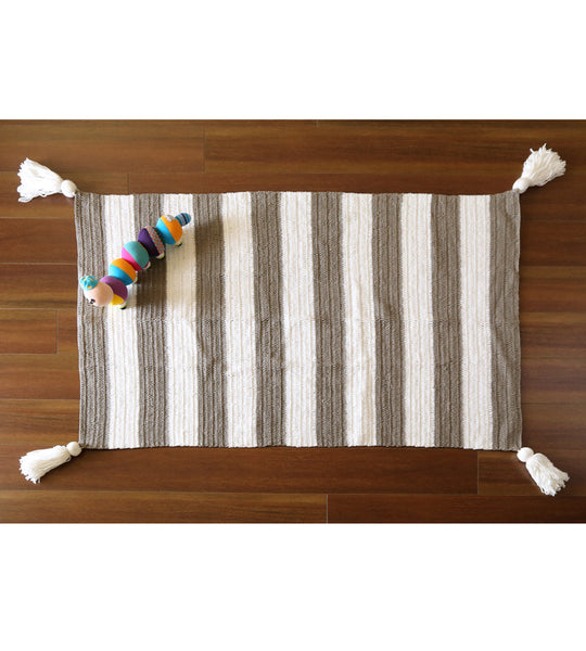 stripe crochet floor rug with tassels kid room decor