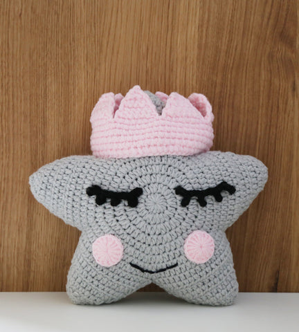 Crochet Star Cushion With Crown (Grey)