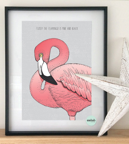 Flossy the flamingo wall print
