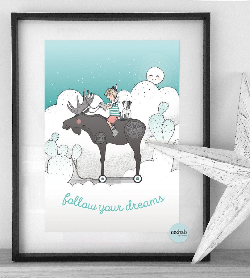 Follow your dreams Boy nursery wall print