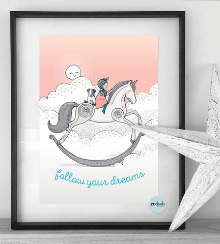 Follow your dreams girl nursery wall print