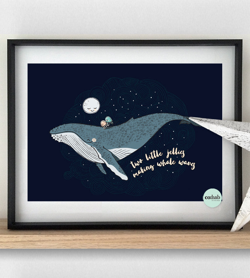 Little jellies whale print nusery decor