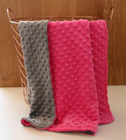 Hot pink charcoal minky baby blanket
