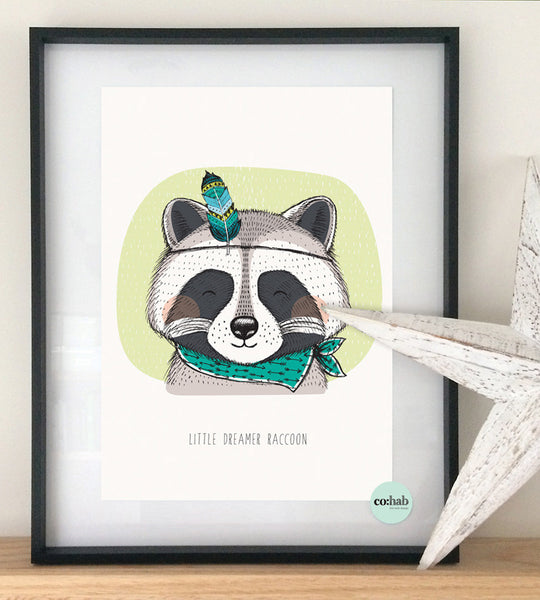Little dreamer raccoon nursery wall print