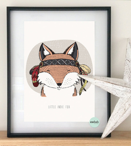 Little indie fox wall print