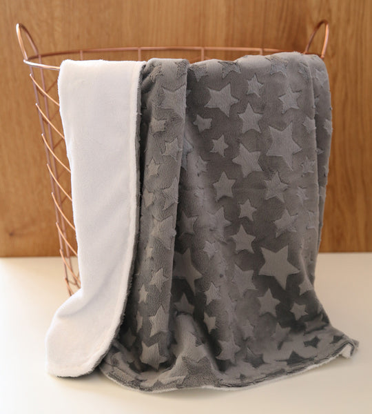 Grey star pattern minky baby blanket - display