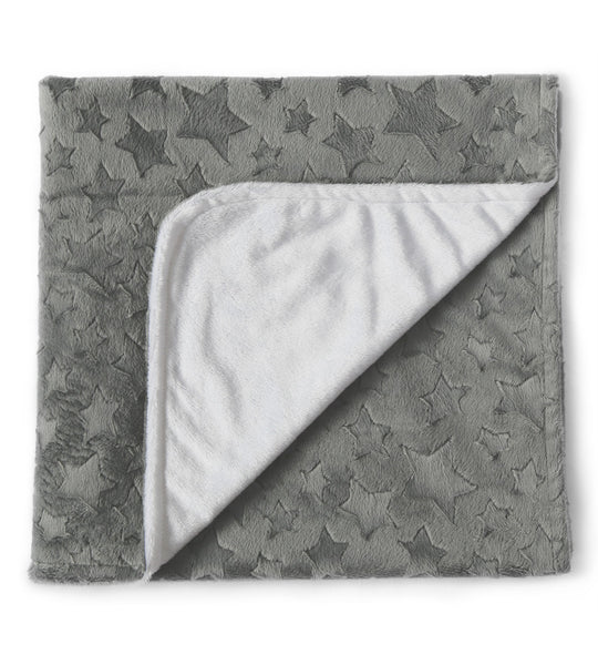 Keep them warm with this grey minky blanket