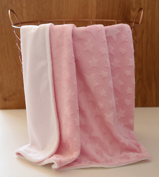 minky star pink baby blanket