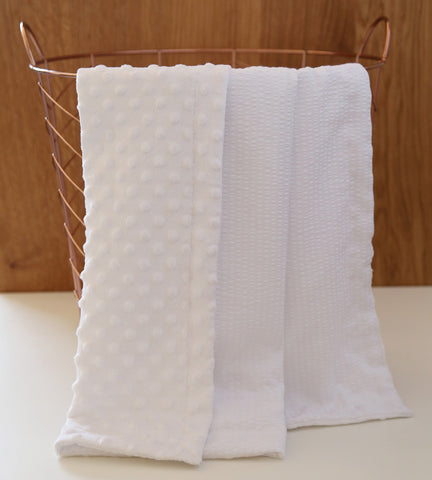 Minky/Seersucker baby blanket in white baptism christening