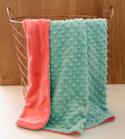 Mint coral minky baby blanket