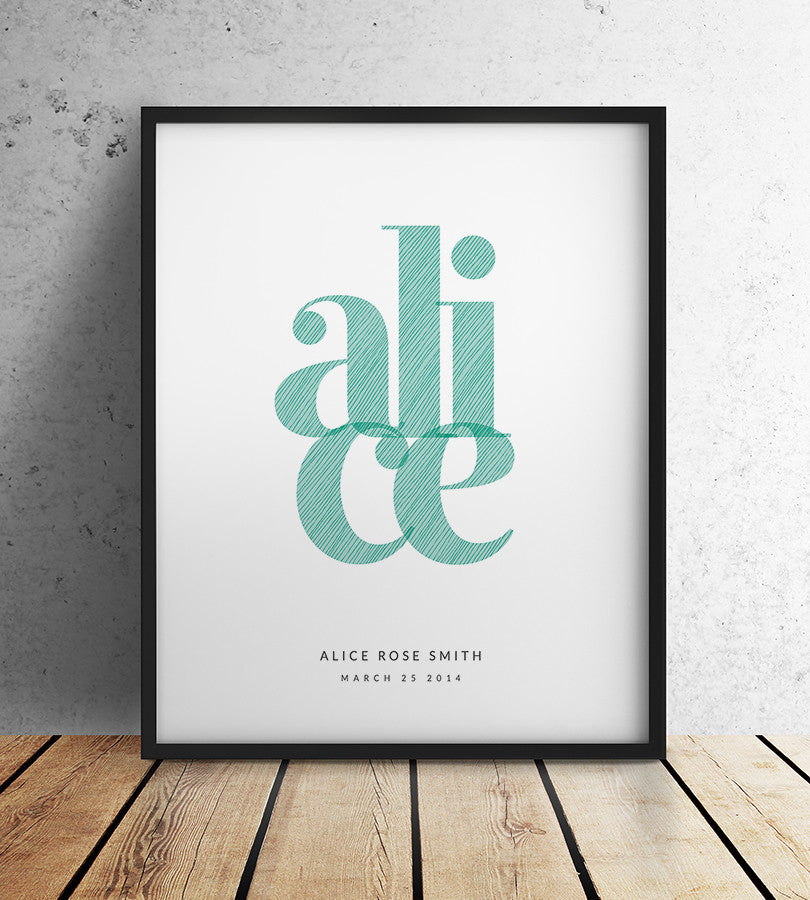 Personalised etched print girl mint