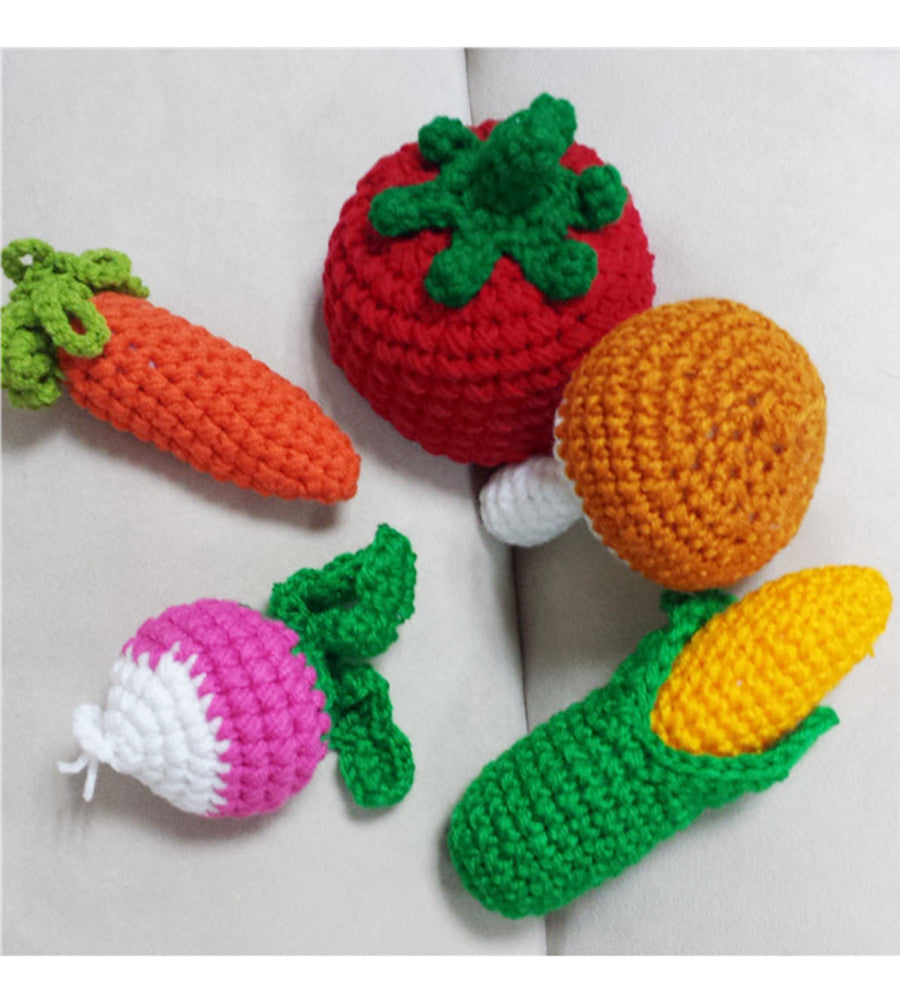 Set of 5 crochet vegetables (carrot, raddish, tomato, corn, mushroom)