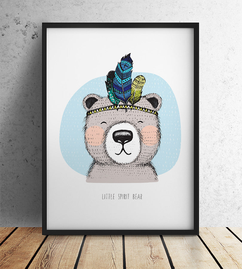 Bear print nursery wall decor