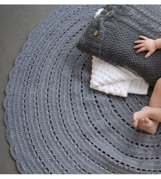 Grey knit cushion cover
