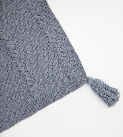 Crochet Tassel Blanket - Cool Grey (Large)
