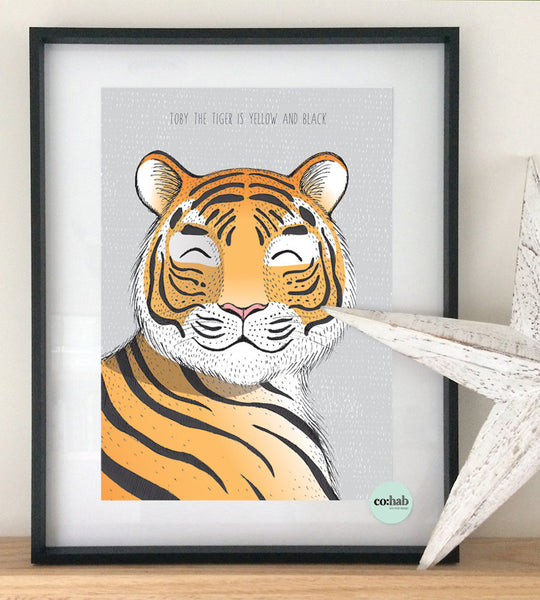 Toby the tiger boy nursery wall print