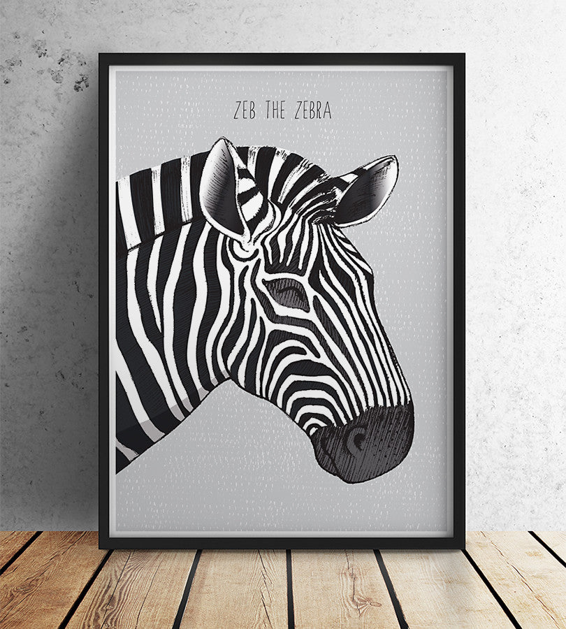 Wild animals zebra nusery wall print