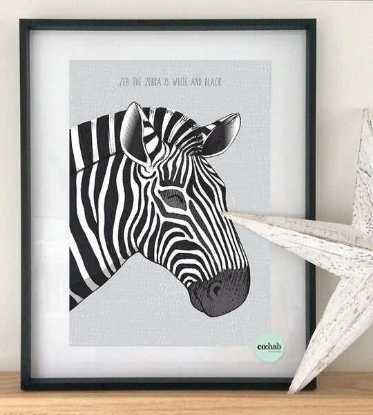 Zeb the zebra wall print nursery decor