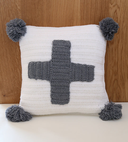 swiss cross cushion cover grey