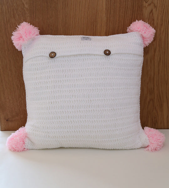 swiss cross cushion cover grey pink girl crochet
