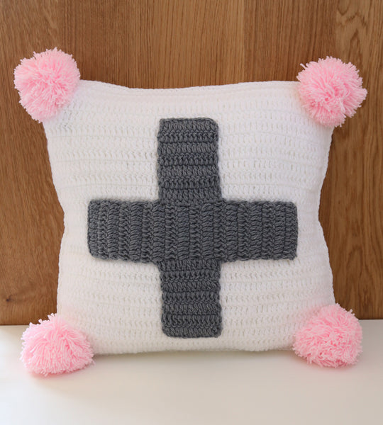 swiss cross cushion cover grey pink girl