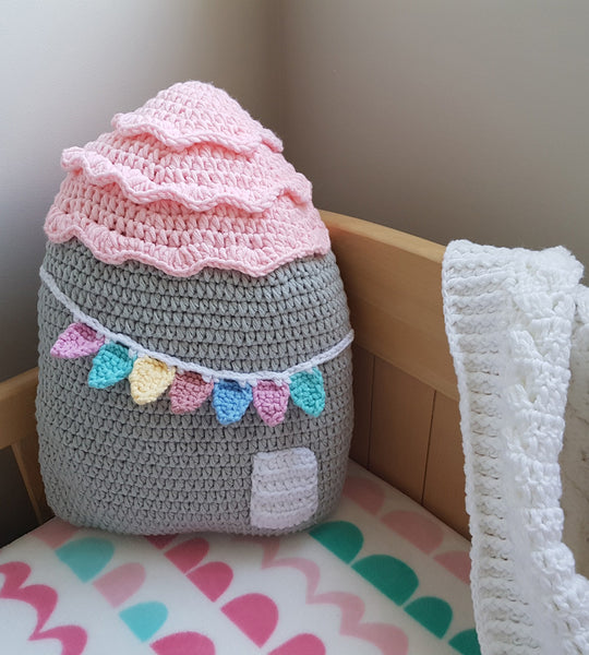 crochet house cushion girl decor