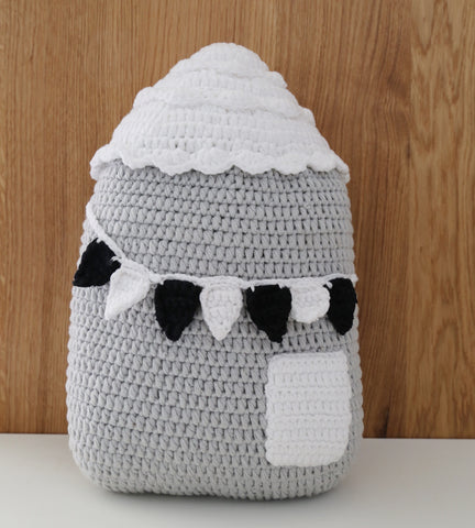 Crochet house cushion monochrome decor