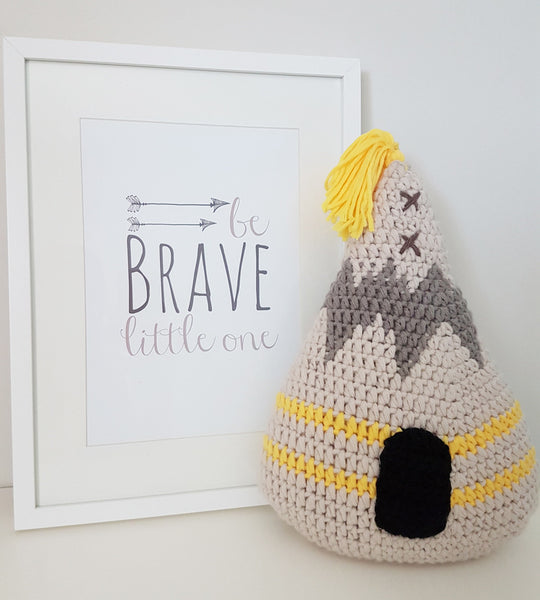 crochet teepee cushion boy decor