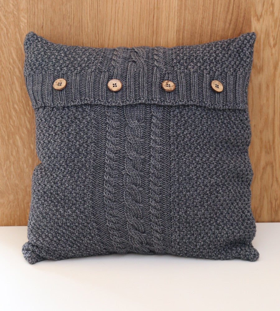 Knit Cushion Cover - Grey