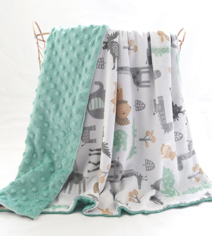 Minky Blanket- Animals Print