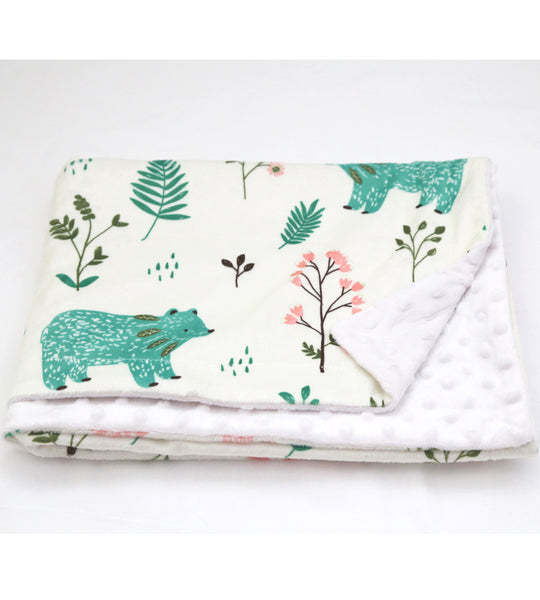 Bear minky dot blanket nursery