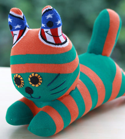 Cain the green orange sock animal cat