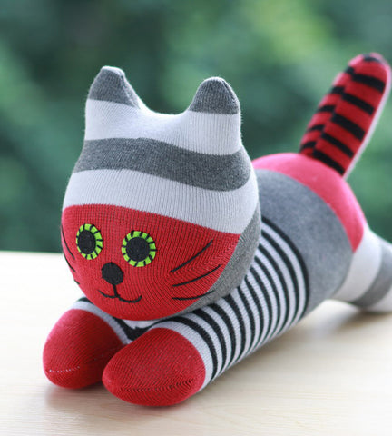 Cherokee - the sock animal cat in red and grey stripes