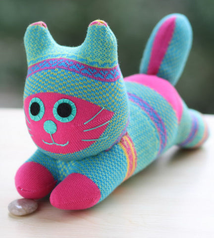 Coco - the turquoise sock animal cat