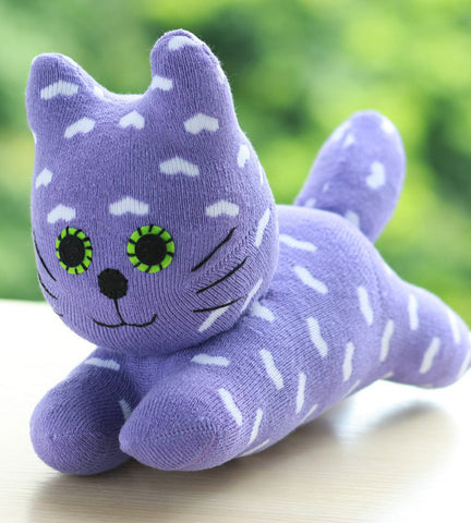 Cody - the sock animal cat in purple with white hearts