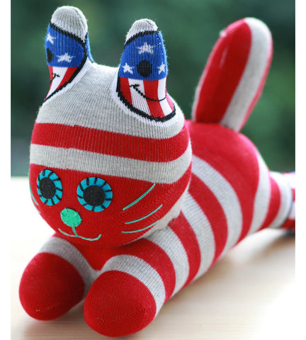 Colby - the sock animal cat in red stripes
