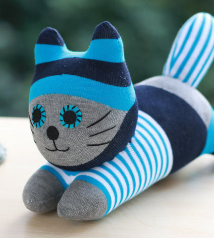 Cooper - The sock animal cat in blue stripe