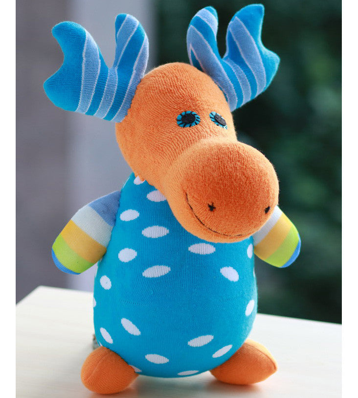 Mack the moose sock animal elk in blue orange