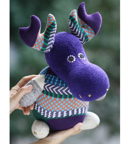 Maddox the moose sock animal in wintery colours