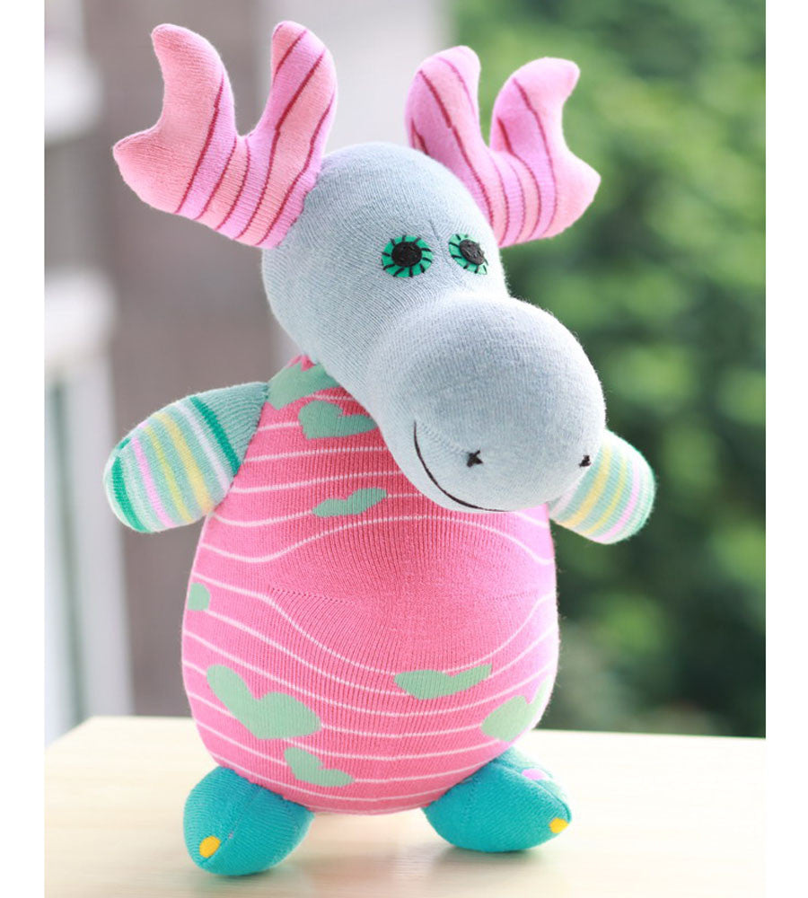 Mae the moose sock animal in pink and aqua